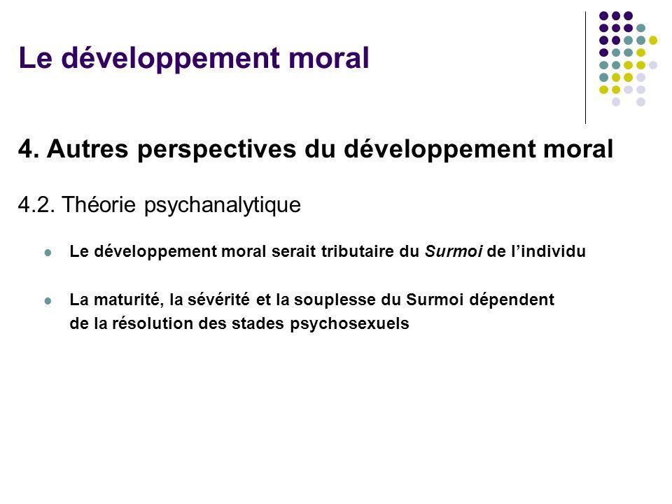 4. Autres perspectives du développement moral 4.2. Théorie psychanalytique Le développement moral serait tributaire du Surmoi de lindividu La maturité