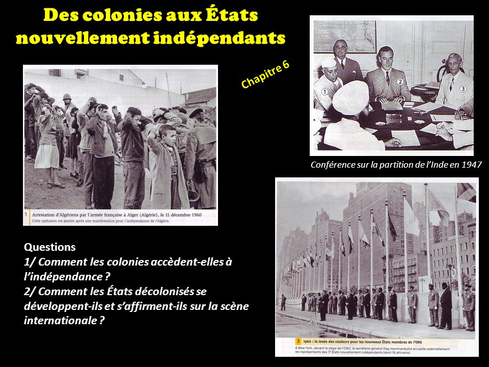 Chapitre 6 Des colonies aux États nouvellement indépendants Questions 1/ Comment les colonies accèdent-elles à lindépendance ? 2/ Comment les États dé
