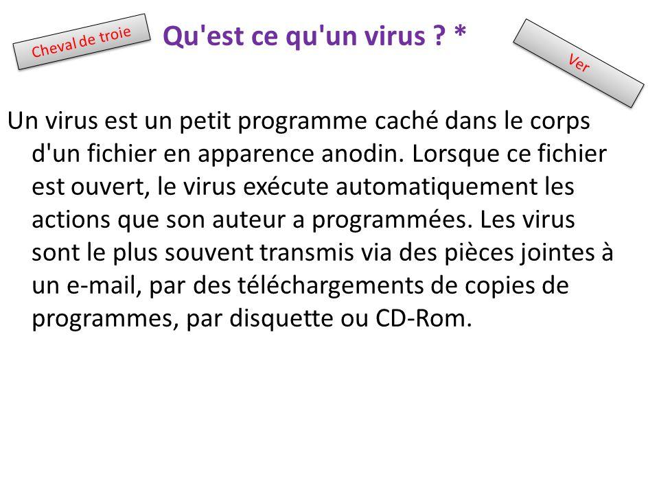 Qu'est ce qu'un virus ? * Un virus est un petit programme caché dans le corps d'un fichier en apparence anodin. Lorsque ce fichier est ouvert, le viru
