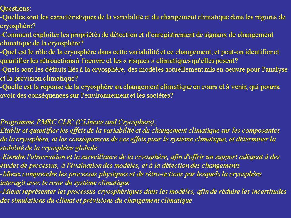 Questions: -Quelles sont les caractéristiques de la variabilité et du changement climatique dans les régions de cryosphère? -Comment exploiter les pro