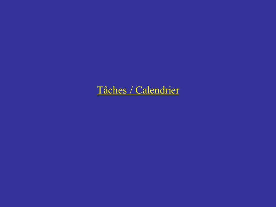 Tâches / Calendrier