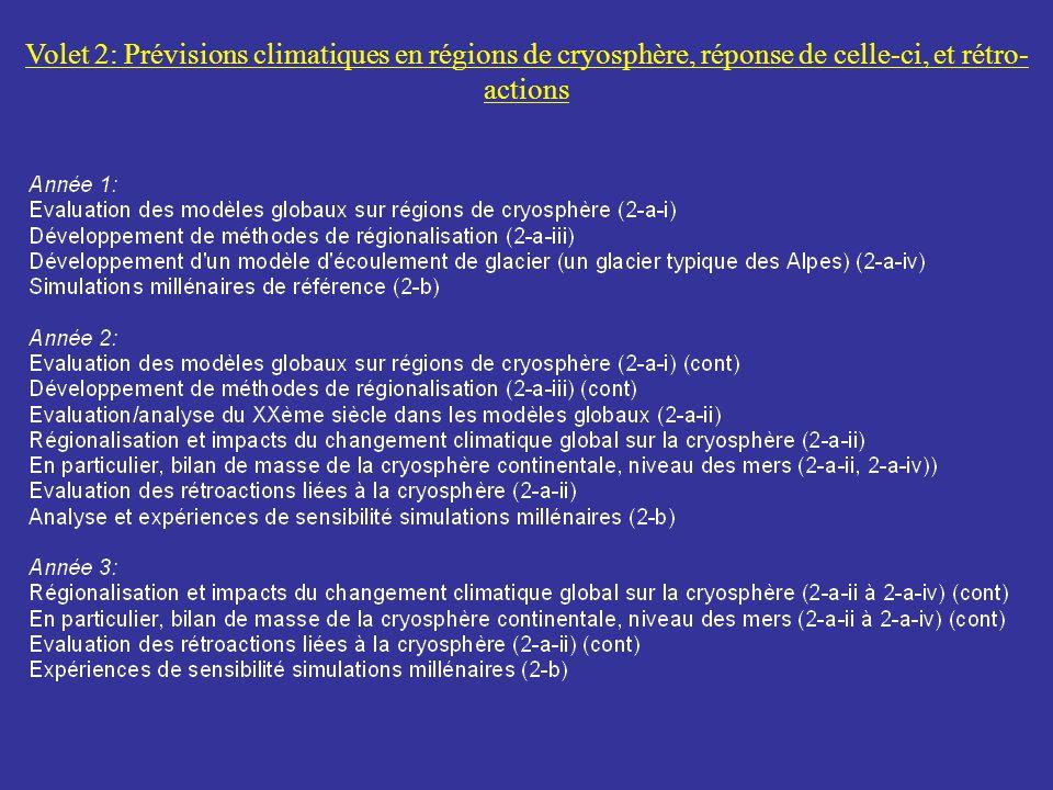 Volet 2: Prévisions climatiques en régions de cryosphère, réponse de celle-ci, et rétro- actions