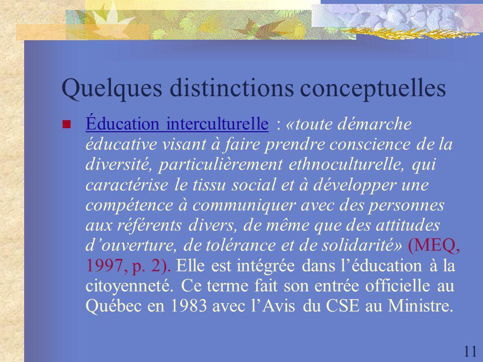 11 Quelques distinctions conceptuelles Éducation interculturelle : «toute démarche éducative visant à faire prendre conscience de la diversité, particulièrement ethnoculturelle, qui caractérise le tissu social et à développer une compétence à communiquer avec des personnes aux référents divers, de même que des attitudes douverture, de tolérance et de solidarité» (MEQ, 1997, p.
