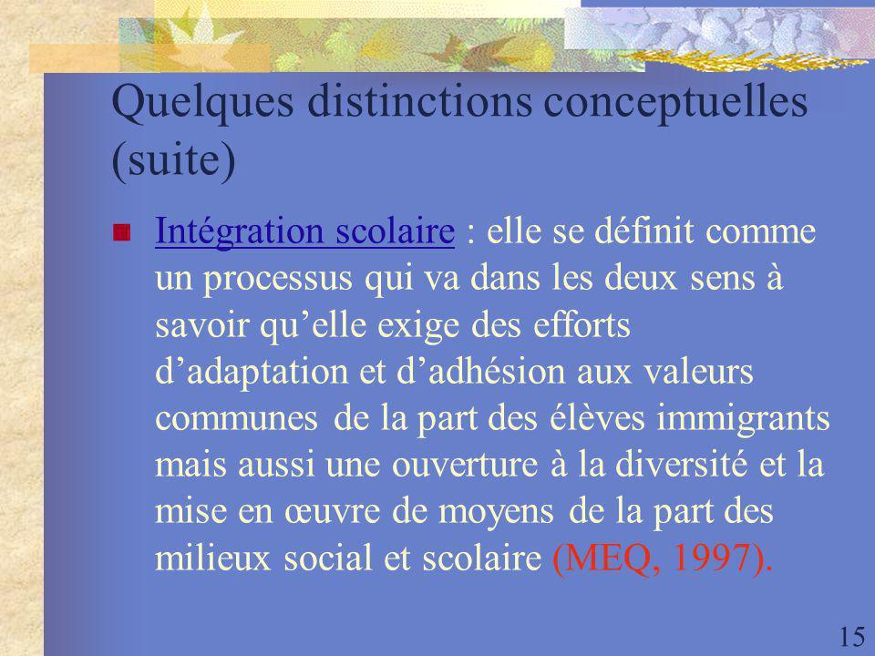 15 Quelques distinctions conceptuelles (suite) Intégration scolaire : elle se définit comme un processus qui va dans les deux sens à savoir quelle exige des efforts dadaptation et dadhésion aux valeurs communes de la part des élèves immigrants mais aussi une ouverture à la diversité et la mise en œuvre de moyens de la part des milieux social et scolaire (MEQ, 1997).