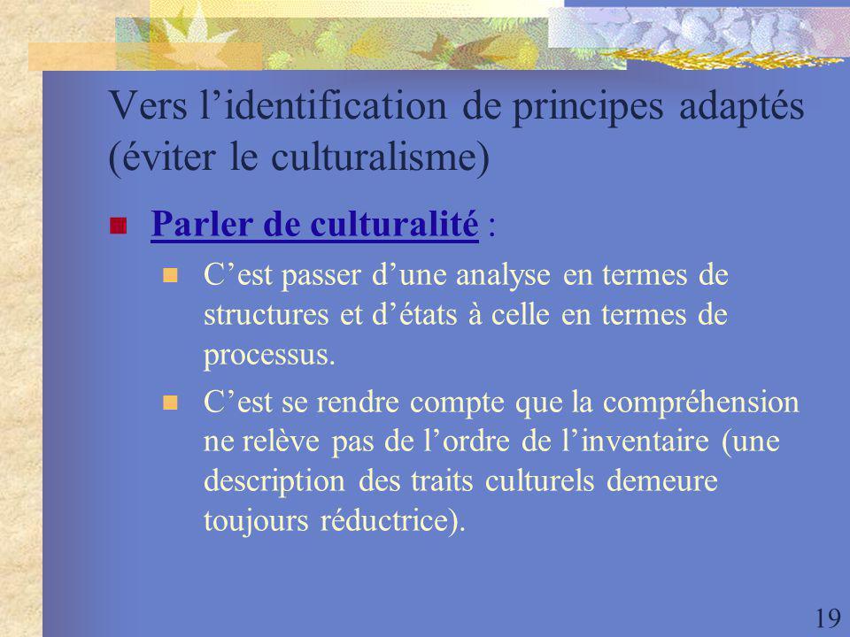 19 Vers lidentification de principes adaptés (éviter le culturalisme) Parler de culturalité : Cest passer dune analyse en termes de structures et détats à celle en termes de processus.