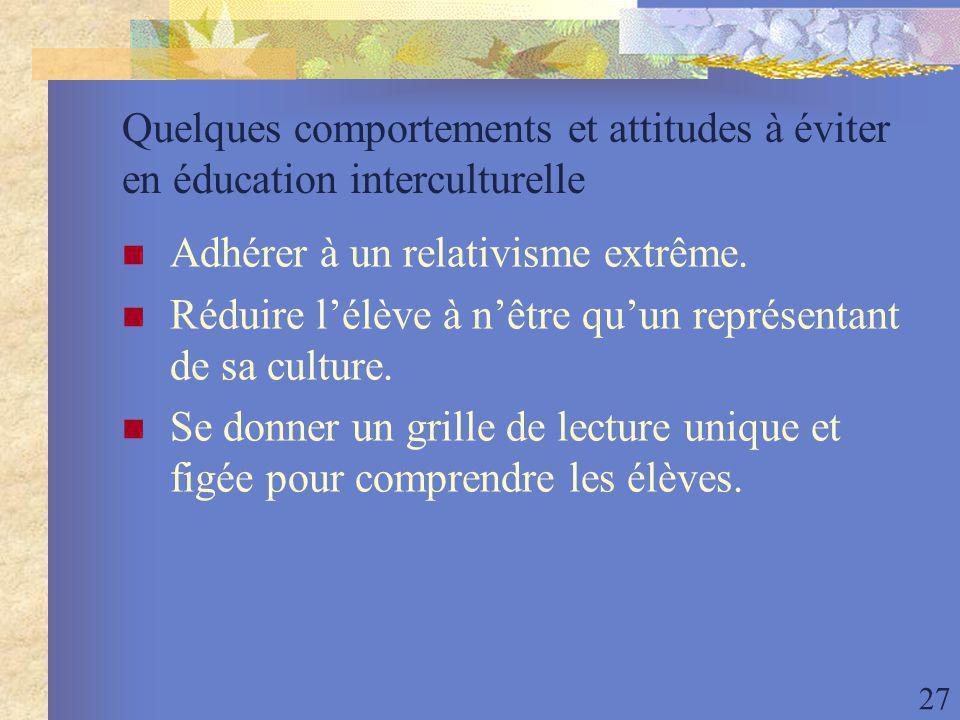 27 Quelques comportements et attitudes à éviter en éducation interculturelle Adhérer à un relativisme extrême.