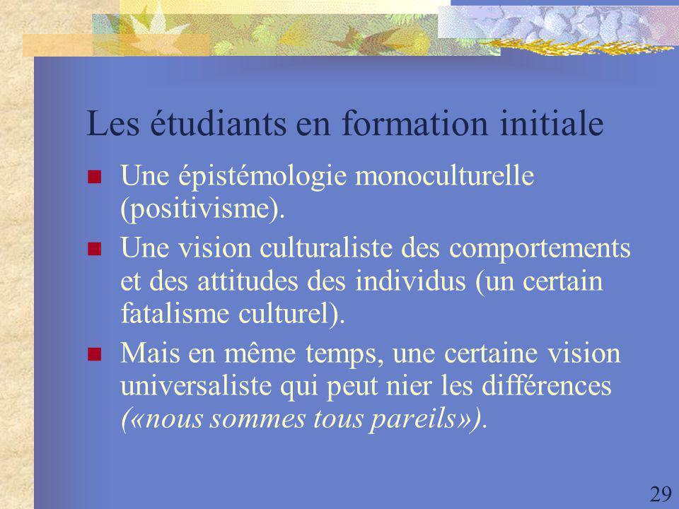 29 Les étudiants en formation initiale Une épistémologie monoculturelle (positivisme).