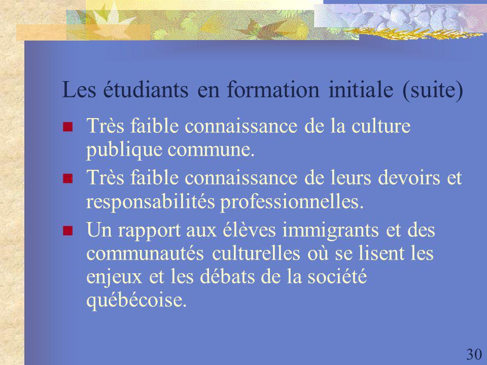 30 Les étudiants en formation initiale (suite) Très faible connaissance de la culture publique commune.