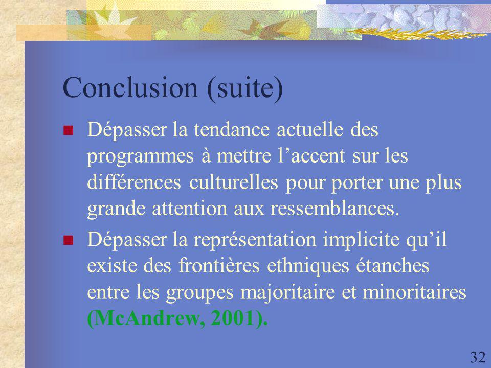 32 Conclusion (suite) Dépasser la tendance actuelle des programmes à mettre laccent sur les différences culturelles pour porter une plus grande attention aux ressemblances.