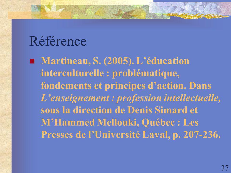 37 Référence Martineau, S. (2005).