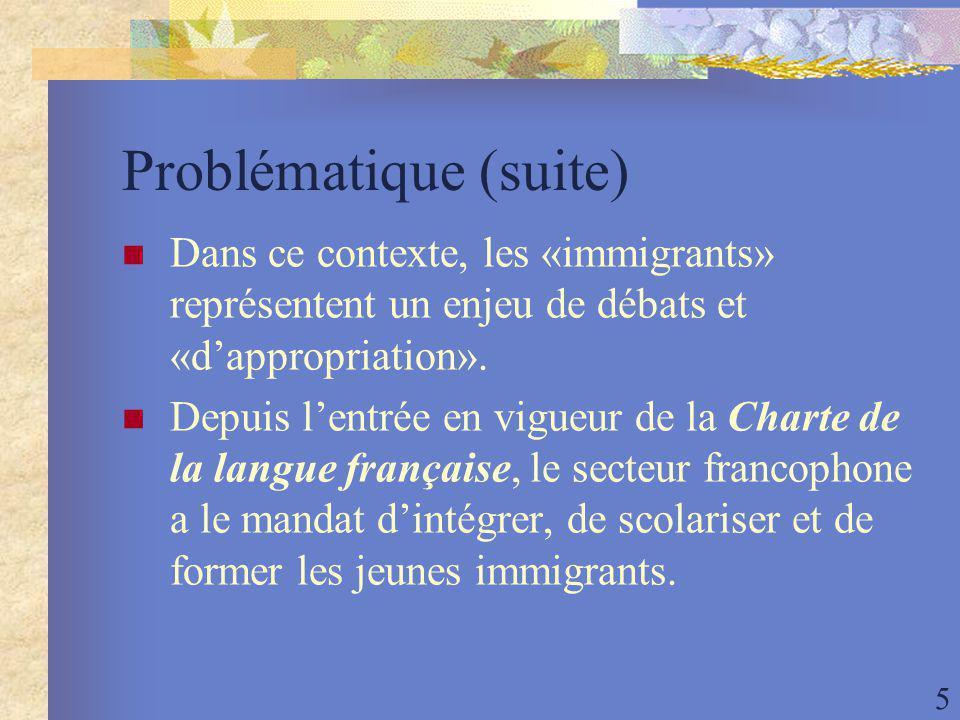 5 Problématique (suite) Dans ce contexte, les «immigrants» représentent un enjeu de débats et «dappropriation».