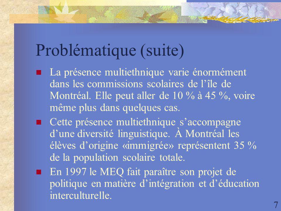 7 Problématique (suite) La présence multiethnique varie énormément dans les commissions scolaires de lîle de Montréal.