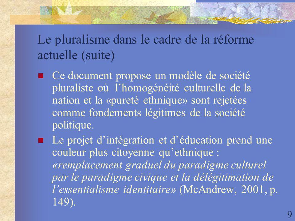 9 Le pluralisme dans le cadre de la réforme actuelle (suite) Ce document propose un modèle de société pluraliste où lhomogénéité culturelle de la nation et la «pureté ethnique» sont rejetées comme fondements légitimes de la société politique.
