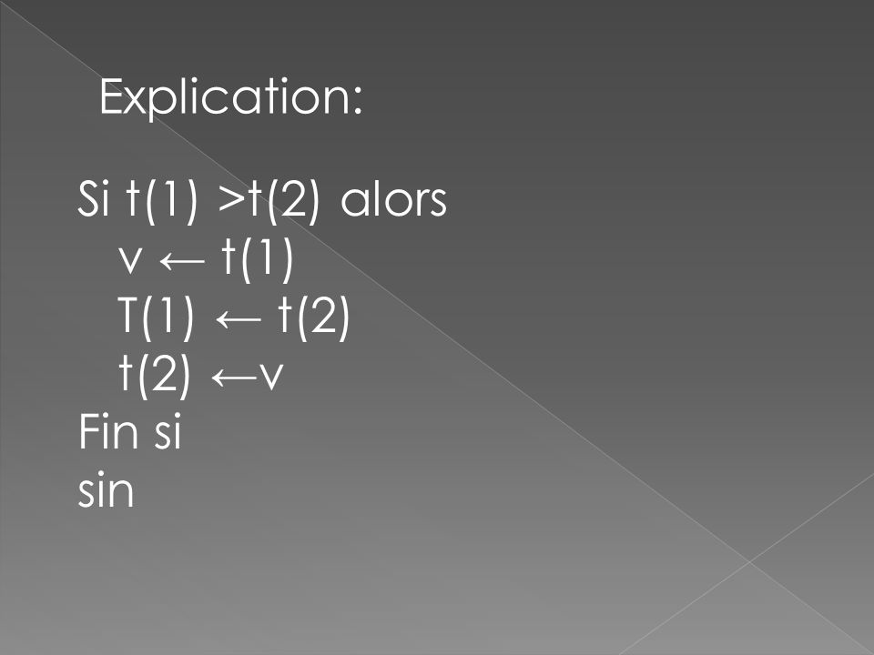 Explication: Si t(1) >t(2) alors v t(1) T(1) t(2) t(2) v Fin si sin