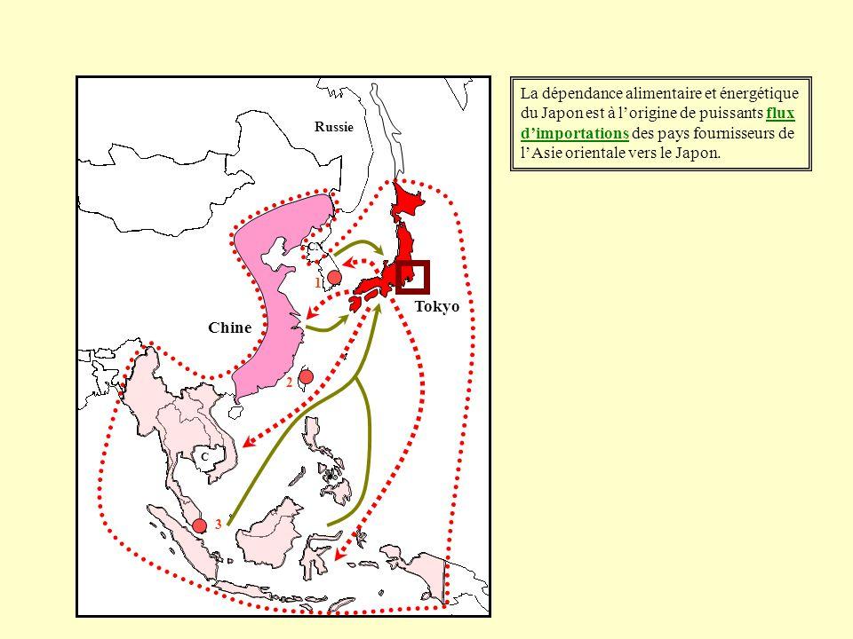 La dépendance alimentaire et énergétique du Japon est à lorigine de puissants flux dimportations des pays fournisseurs de lAsie orientale vers le Japo