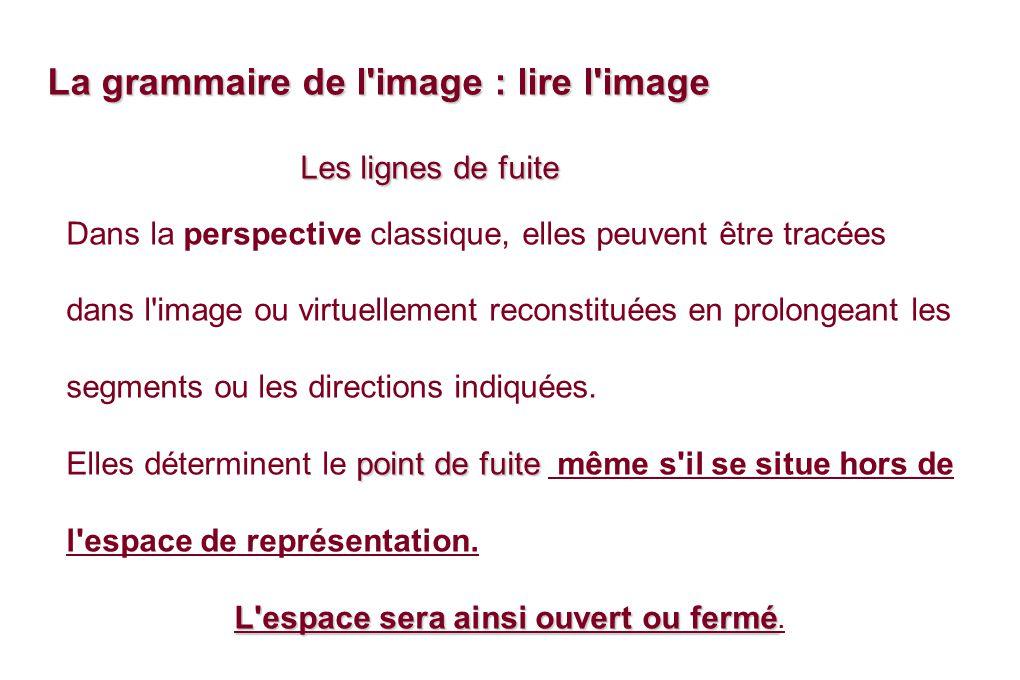 Les lignes de fuite Les lignes de fuite Dans la perspective classique, elles peuvent être tracées dans l image ou virtuellement reconstituées en prolongeant les segments ou les directions indiquées.