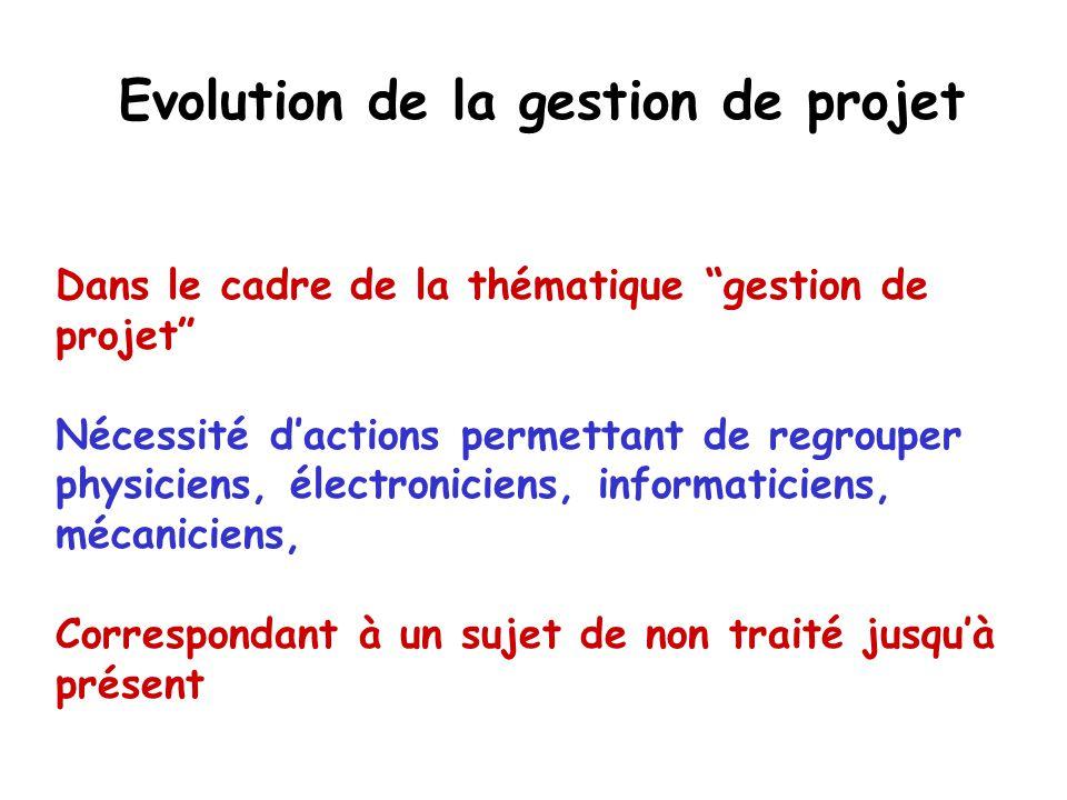 Evolution de la gestion de projet Dans le cadre de la thématique gestion de projet Nécessité dactions permettant de regrouper physiciens, électronicie