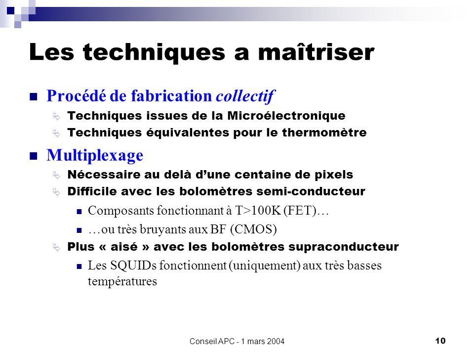 Conseil APC - 1 mars 200410 Les techniques a maîtriser Procédé de fabrication collectif Techniques issues de la Microélectronique Techniques équivalentes pour le thermomètre Multiplexage Nécessaire au delà dune centaine de pixels Difficile avec les bolomètres semi-conducteur Composants fonctionnant à T>100K (FET)… …ou très bruyants aux BF (CMOS) Plus « aisé » avec les bolomètres supraconducteur Les SQUIDs fonctionnent (uniquement) aux très basses températures