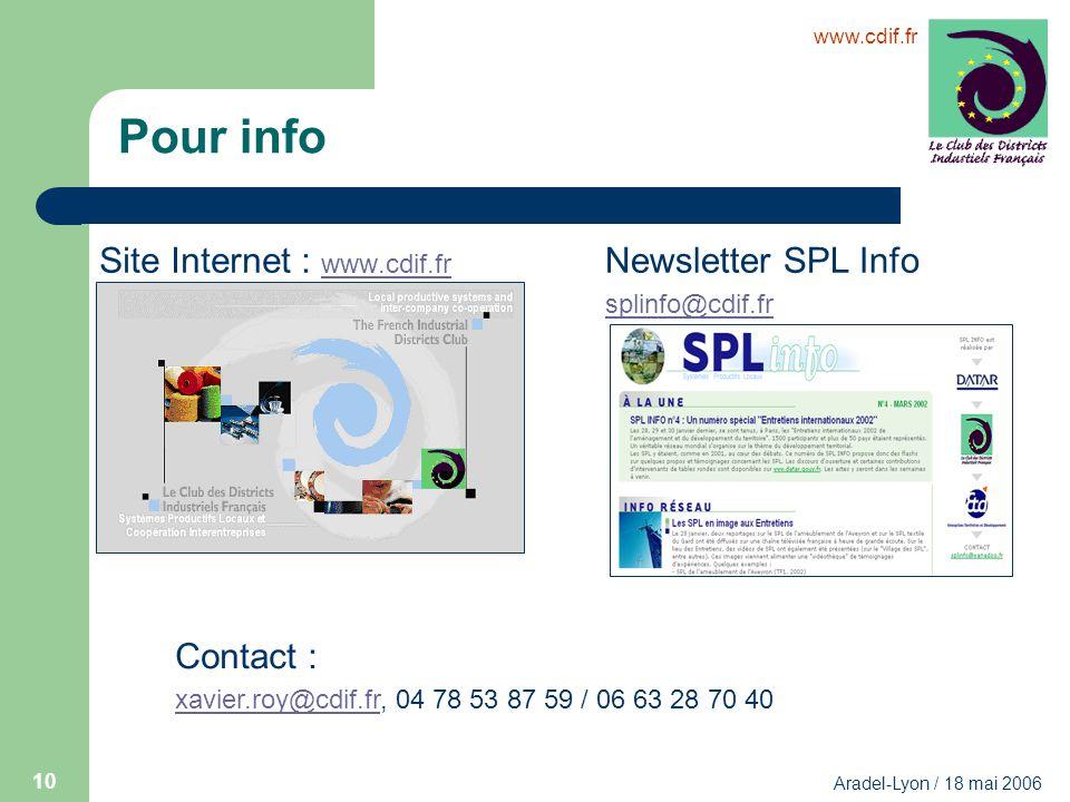 www.cdif.fr Aradel-Lyon / 18 mai 2006 10 Pour info Site Internet : www.cdif.fr www.cdif.fr Newsletter SPL Info splinfo@cdif.fr Contact : xavier.roy@cd