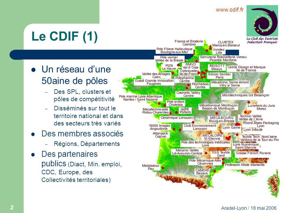 www.cdif.fr Aradel-Lyon / 18 mai 2006 2 Le CDIF (1) Un réseau dune 50aine de pôles – Des SPL, clusters et pôles de compétitivité – Disséminés sur tout