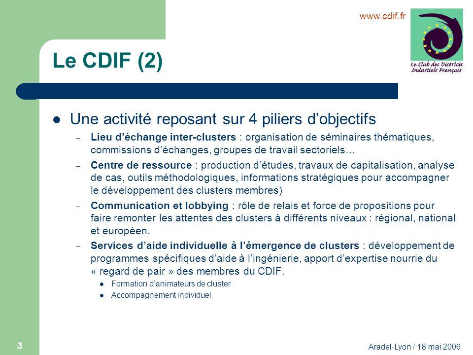 www.cdif.fr Aradel-Lyon / 18 mai 2006 3 Le CDIF (2) Une activité reposant sur 4 piliers dobjectifs – Lieu déchange inter-clusters : organisation de sé
