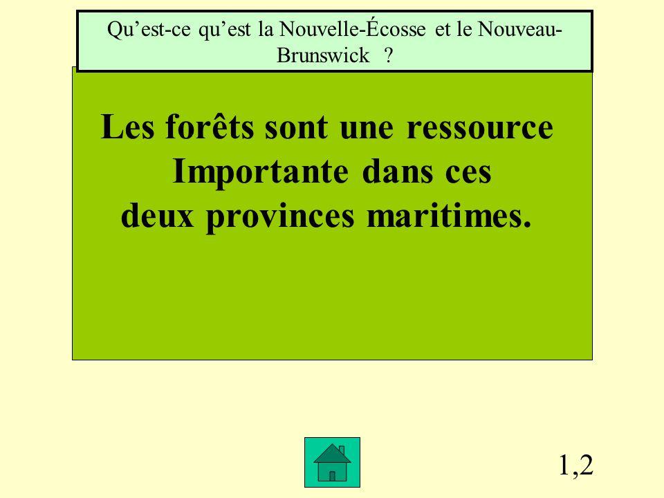 1,2 Les forêts sont une ressource Importante dans ces deux provinces maritimes.