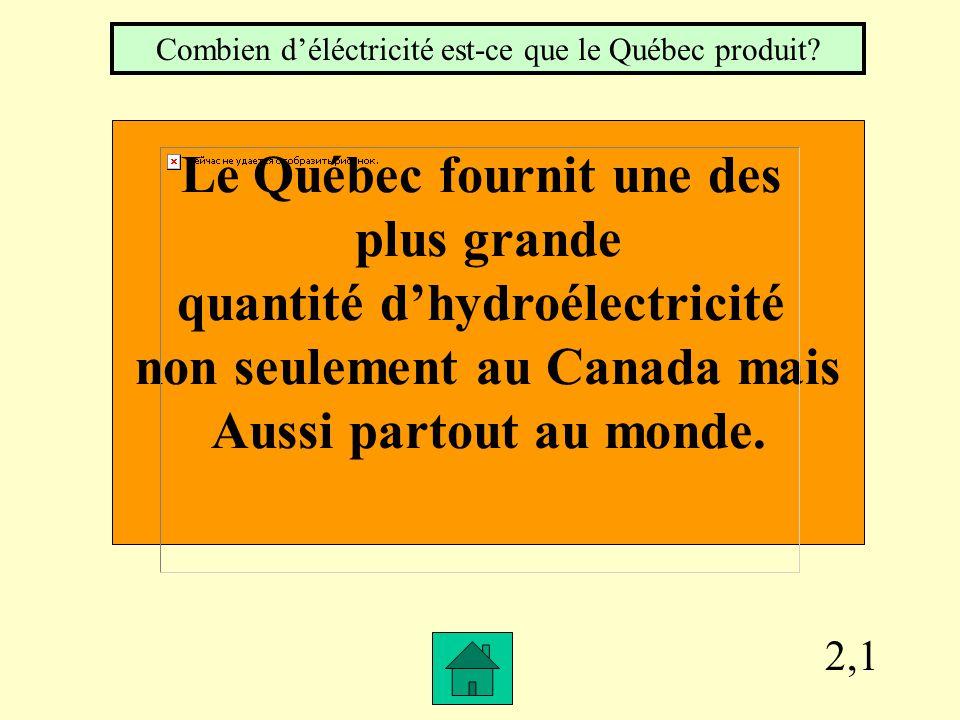 2,1 Le Québec fournit une des plus grande quantité dhydroélectricité non seulement au Canada mais Aussi partout au monde.