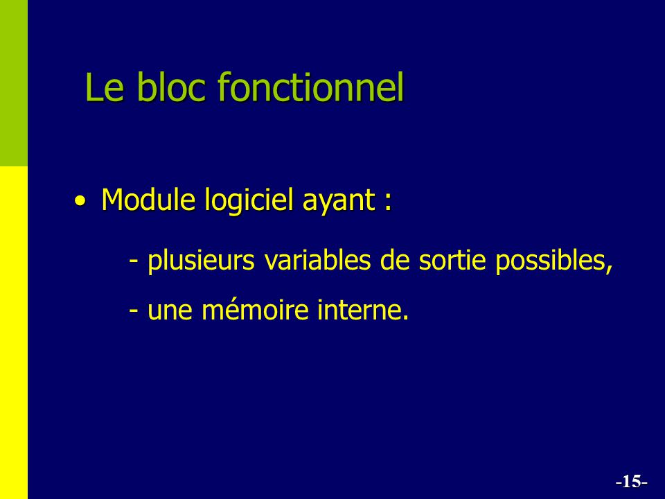 Le bloc fonctionnel Module logiciel ayant :Module logiciel ayant : - plusieurs variables de sortie possibles, - une mémoire interne.