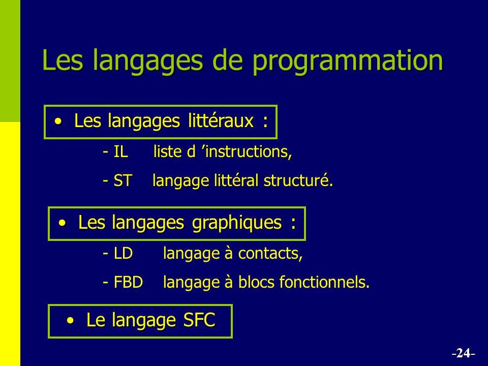 Les langages de programmation Les langages littéraux :Les langages littéraux : IL liste d instructions, - IL liste d instructions, - ST langage littéral structuré.