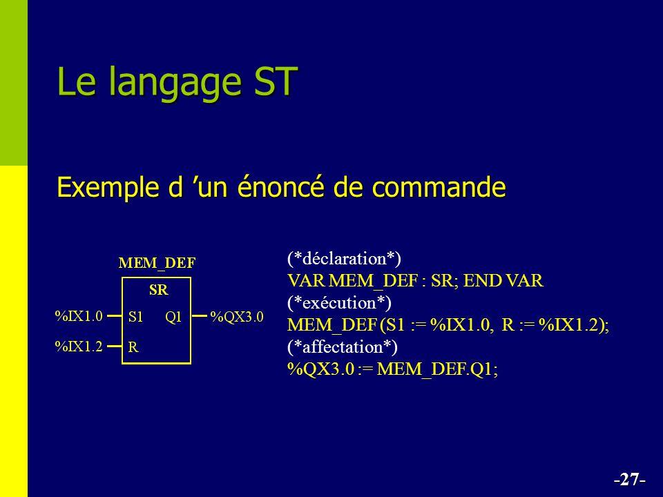 Exemple d un énoncé de commande Le langage ST -27- (*déclaration*) VAR MEM_DEF : SR; END VAR (*exécution*) MEM_DEF (S1 := %IX1.0, R := %IX1.2); (*affectation*) %QX3.0 := MEM_DEF.Q1;