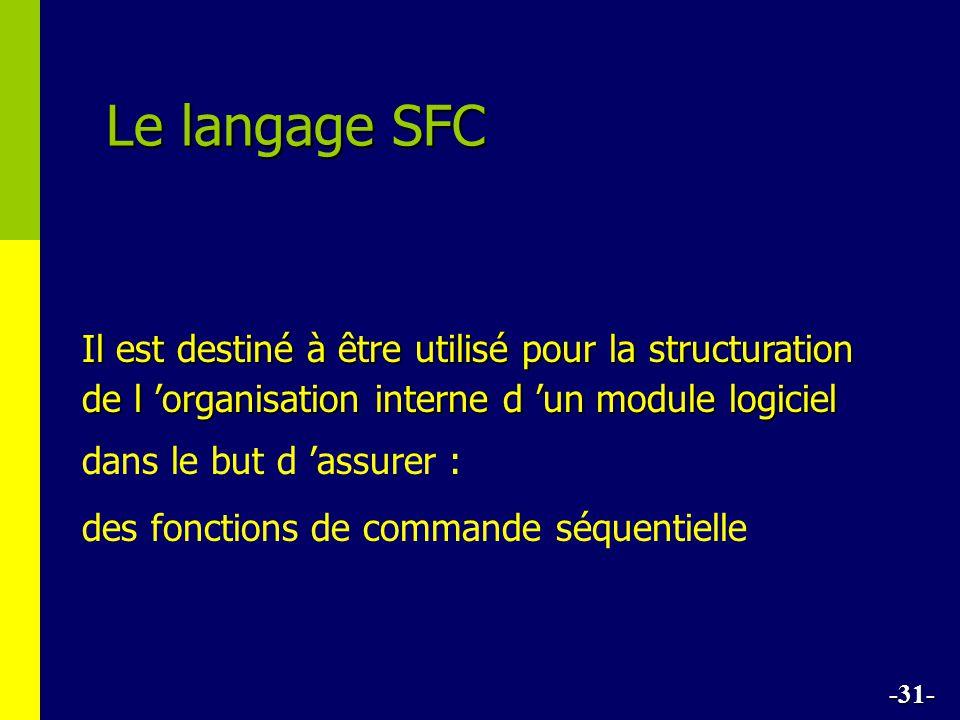 Le langage SFC Il est destiné à être utilisé pour la structuration de l organisation interne d un module logiciel dans le but d assurer : des fonctions de commande séquentielle -31-