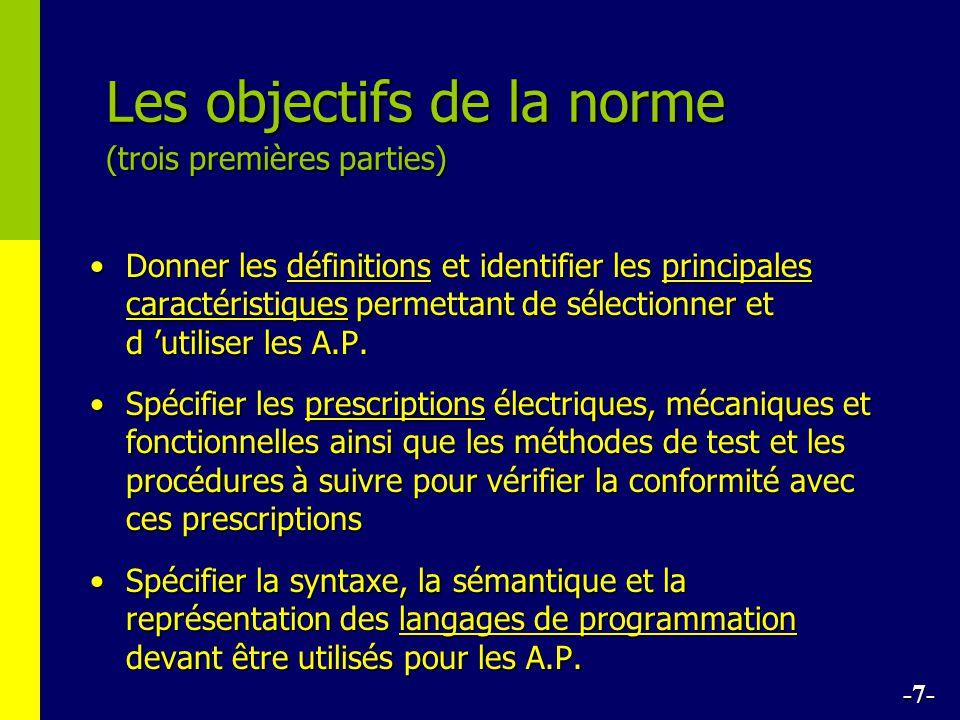 Les objectifs de la norme (trois premières parties) Donner les définitions et identifier les principales caractéristiques permettant de sélectionner et d utiliser les A.P.Donner les définitions et identifier les principales caractéristiques permettant de sélectionner et d utiliser les A.P.