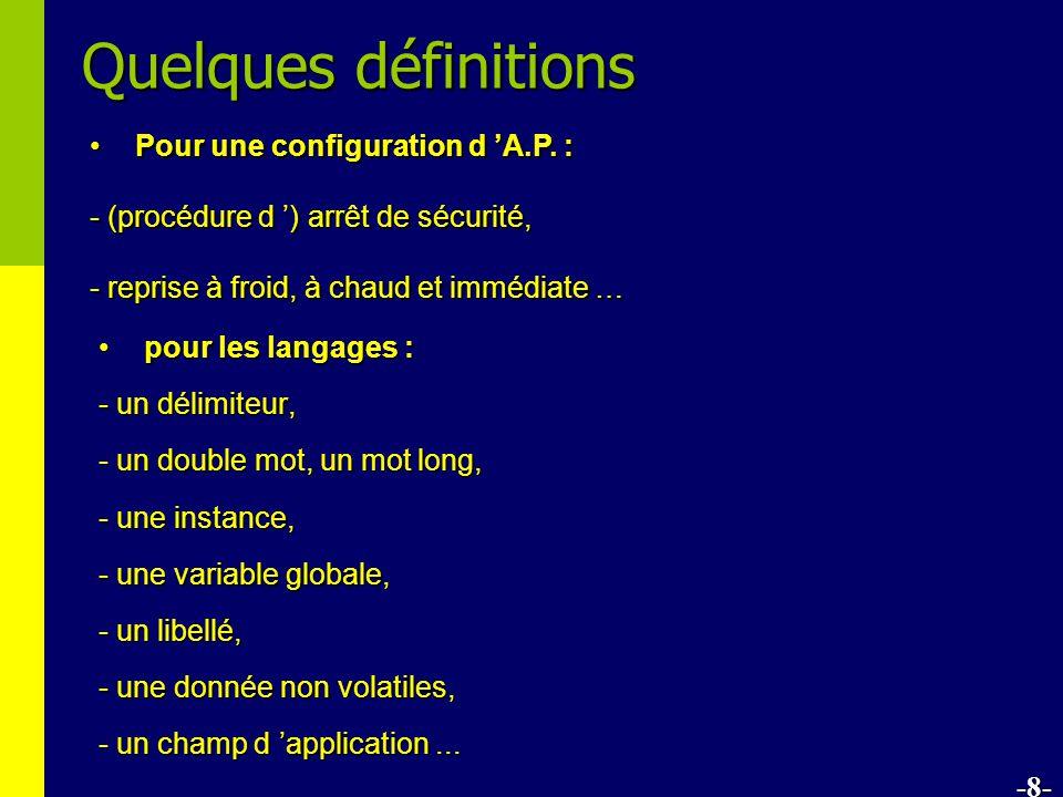 Quelques définitions pour les langages :pour les langages : - un délimiteur, - un double mot, un mot long, - une instance, - une variable globale, - un libellé, - une donnée non volatiles, - un champ d application...