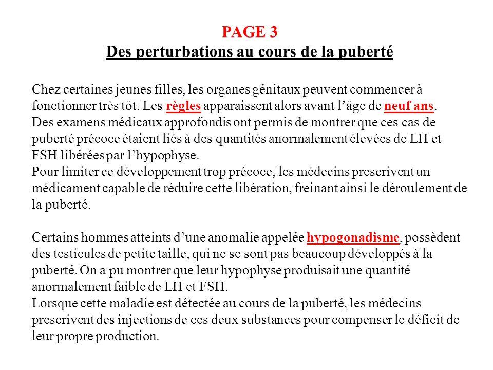 PAGE 3 Des perturbations au cours de la puberté Chez certaines jeunes filles, les organes génitaux peuvent commencer à fonctionner très tôt. Les règle