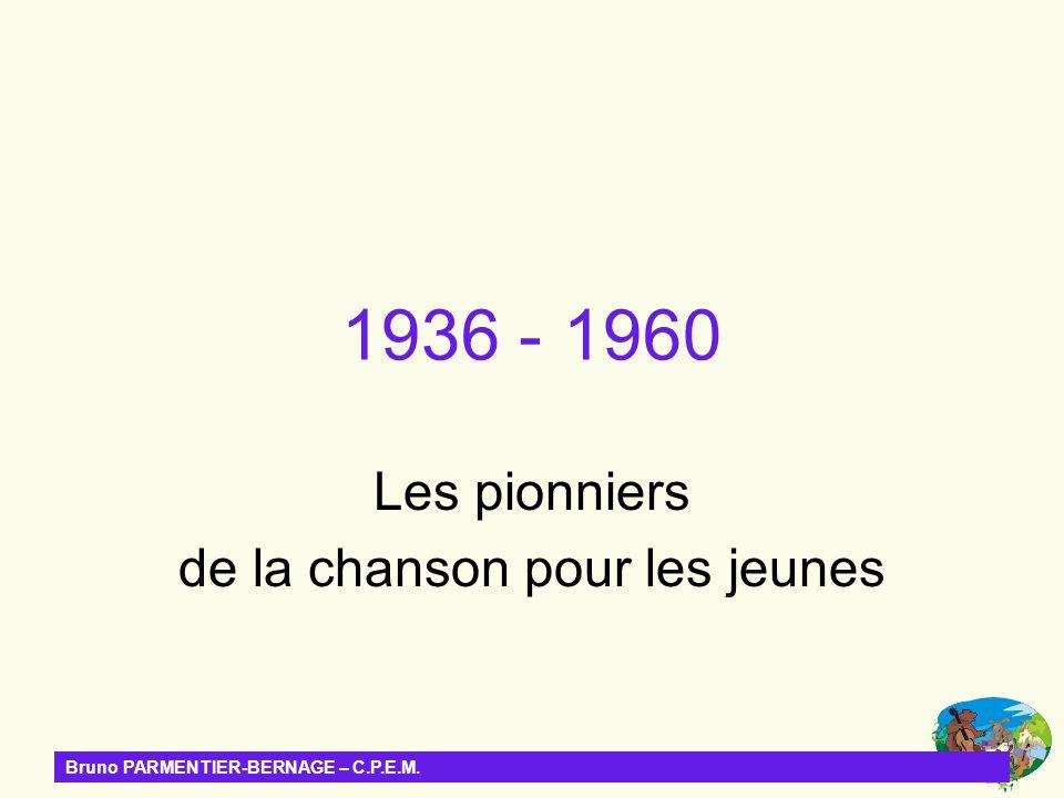 1936 - 1960 Les pionniers de la chanson pour les jeunes