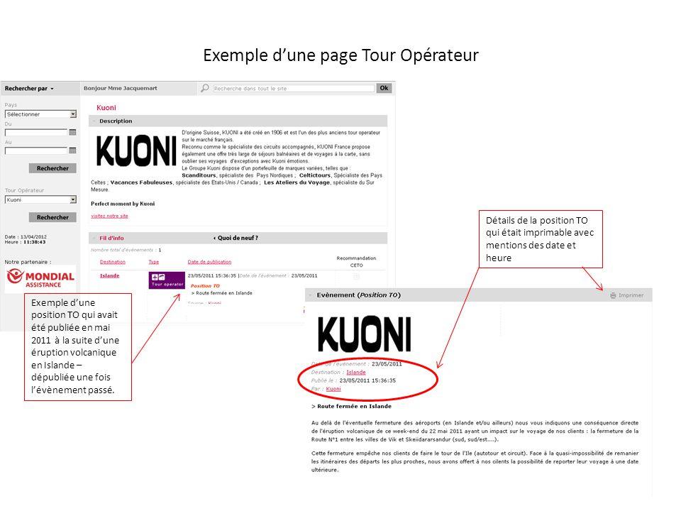 Exemple dune page Tour Opérateur Exemple dune position TO qui avait été publiée en mai 2011 à la suite dune éruption volcanique en Islande – dépubliée