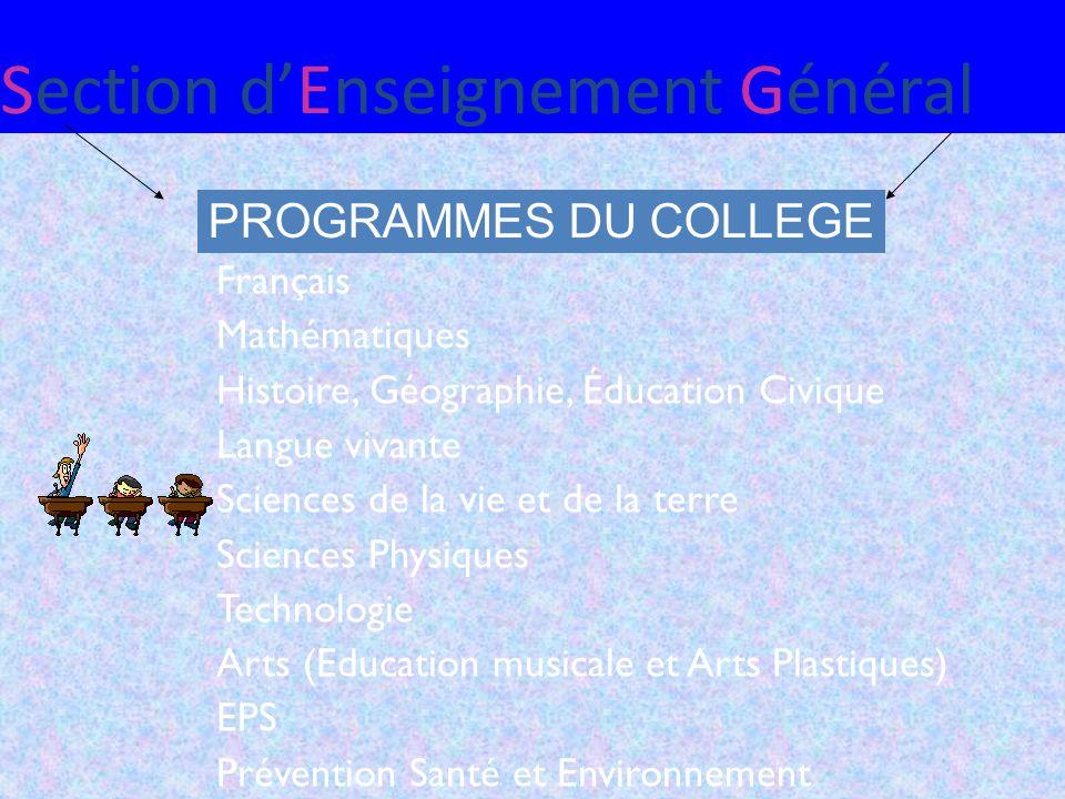 Section dEnseignement Général PROGRAMMES DU COLLEGE Français Mathématiques Histoire, Géographie, Éducation Civique Langue vivante Sciences de la vie e