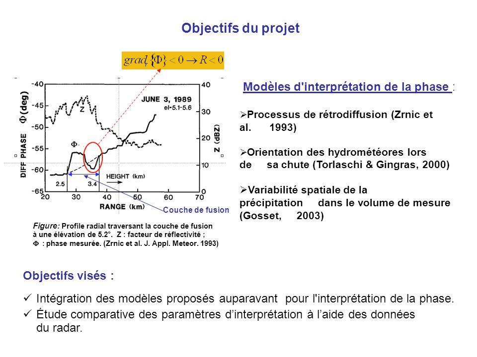 Objectifs du projet Modèles d'interprétation de la phase : Processus de rétrodiffusion (Zrnic et al. 1993) Orientation des hydrométéores lors de sa ch