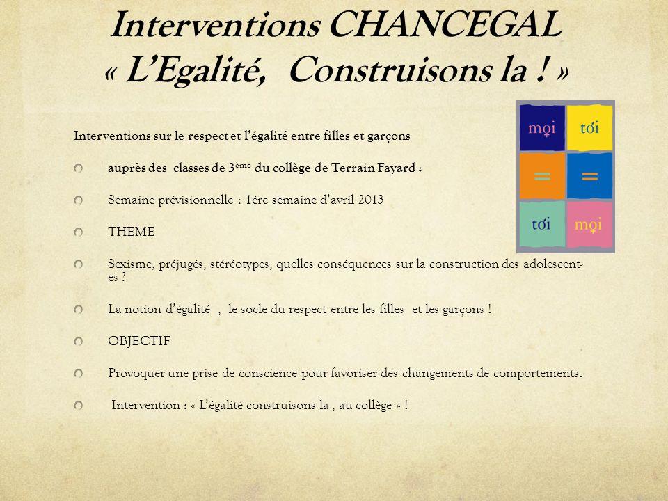 Interventions CHANCEGAL « LEgalité, Construisons la .