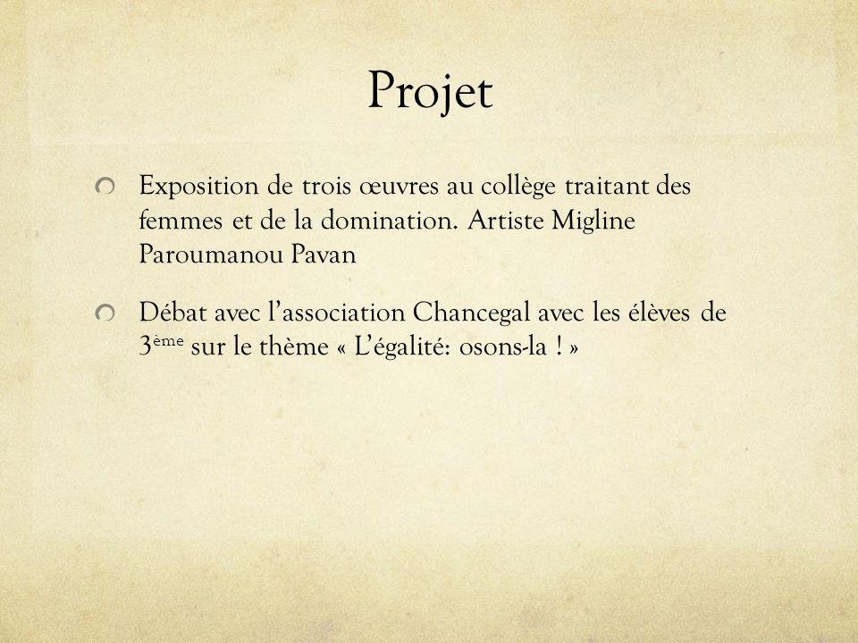 Projet Exposition de trois œuvres au collège traitant des femmes et de la domination.