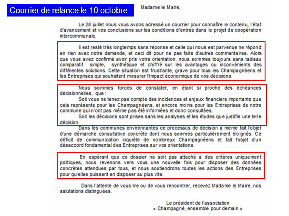 Courrier de relance le 10 octobre