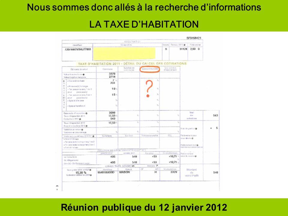 Réunion publique du 12 janvier 2012 Nous sommes donc allés à la recherche dinformations LA TAXE DHABITATION