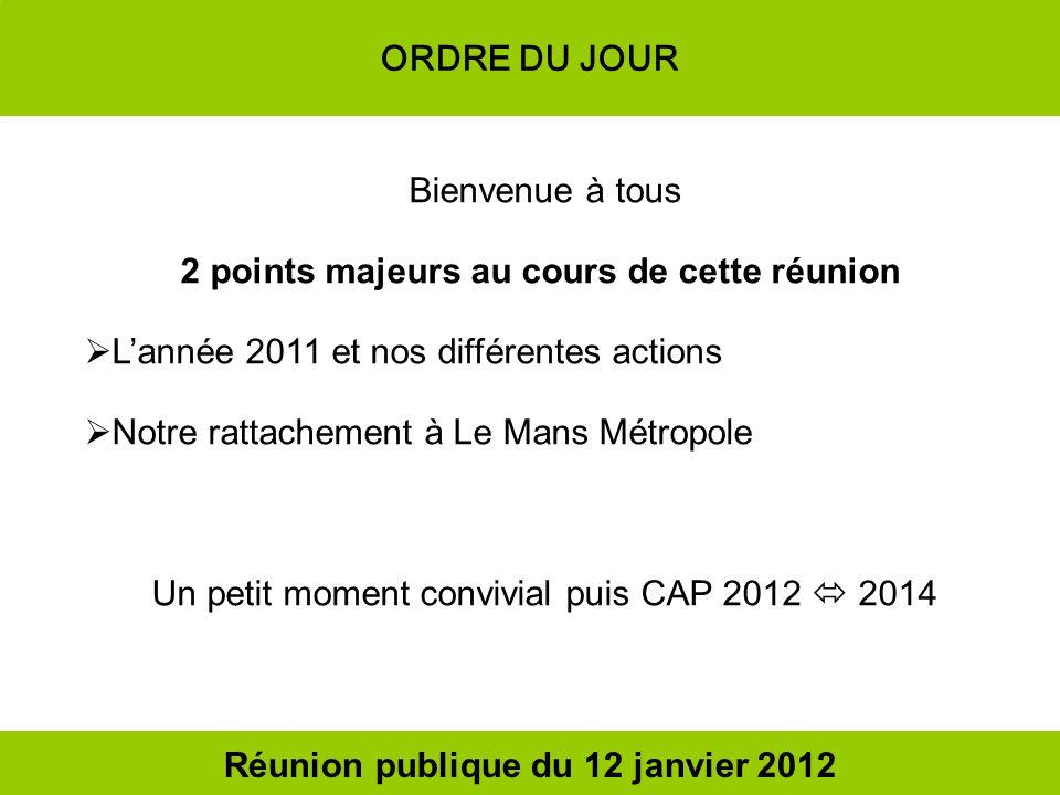 ORDRE DU JOUR Bienvenue à tous 2 points majeurs au cours de cette réunion Lannée 2011 et nos différentes actions Notre rattachement à Le Mans Métropol