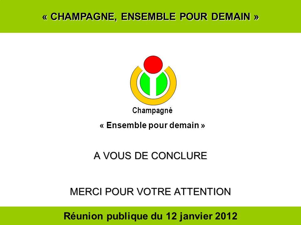 « CHAMPAGNE, ENSEMBLE POUR DEMAIN » A VOUS DE CONCLURE MERCI POUR VOTRE ATTENTION Champagné « Ensemble pour demain » Réunion publique du 12 janvier 20