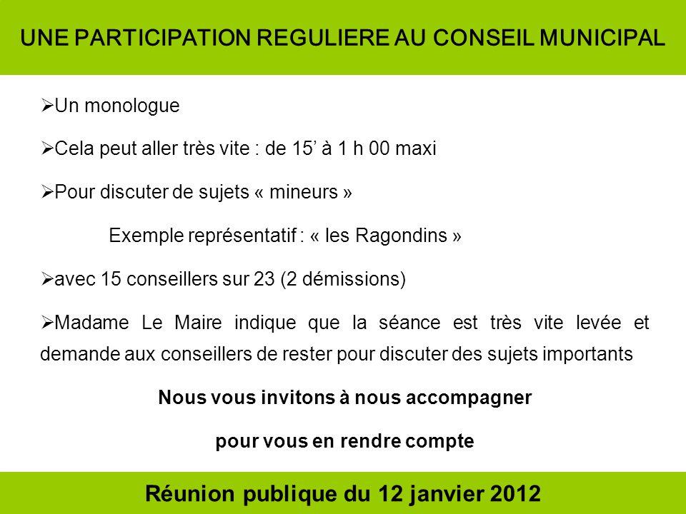 UNE PARTICIPATION REGULIERE AU CONSEIL MUNICIPAL Un monologue Cela peut aller très vite : de 15 à 1 h 00 maxi Pour discuter de sujets « mineurs » Exem
