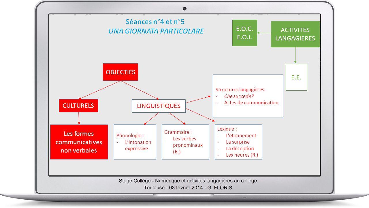 OBJECTIFS LINGUISTIQUES ACTIVITES LANGAGIERES E.E.