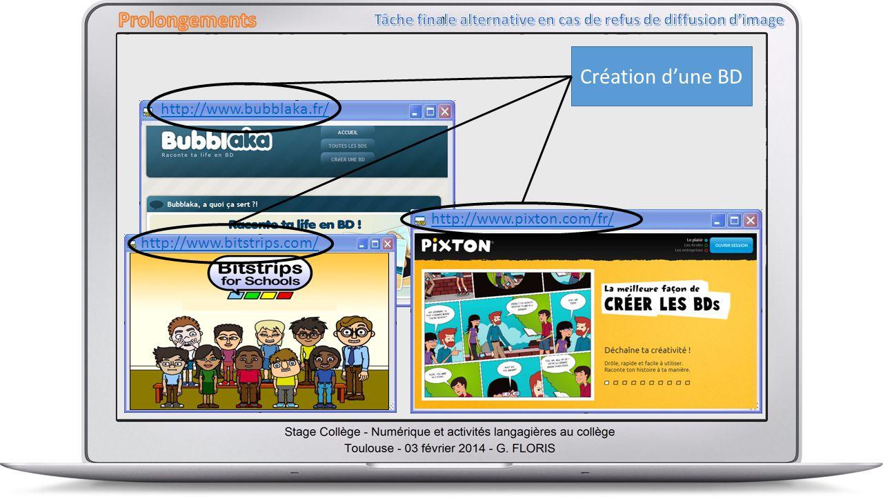 Création dune BD http://www.bubblaka.fr/ http://www.bitstrips.com/ http://www.pixton.com/fr/