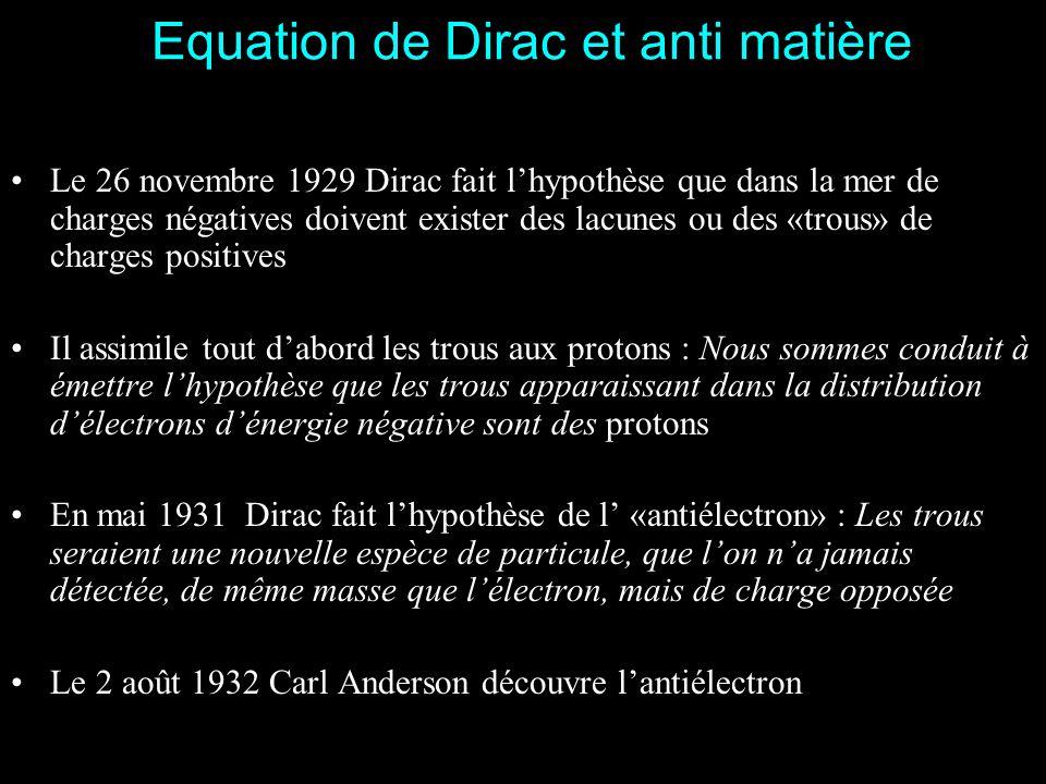 1928 : Léquation de Dirac Début de 1928 Dirac publie un mémoire introduisant léquation de Dirac Jai vu Dirac il y a quelques jours à Cambridge. Il a m