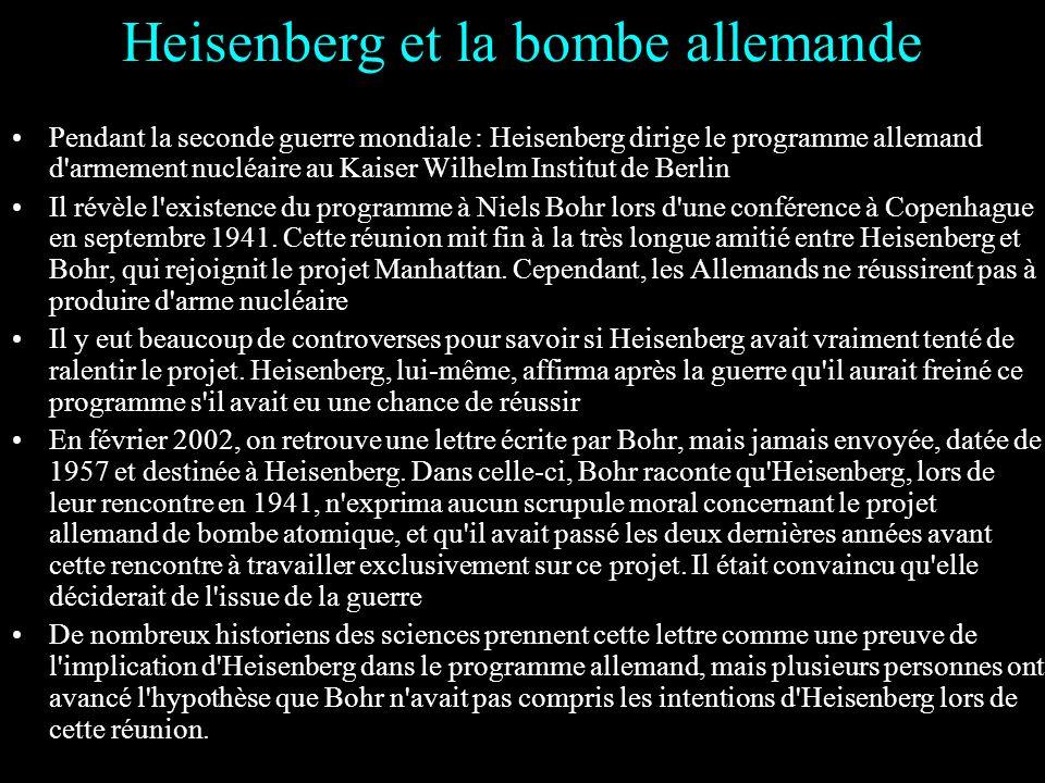 1932 : Après la découverte du neutron par James Chadwick, Heisenberg propose le modèle proton- neutron du noyau atomique, et s'en sert pour expliquer