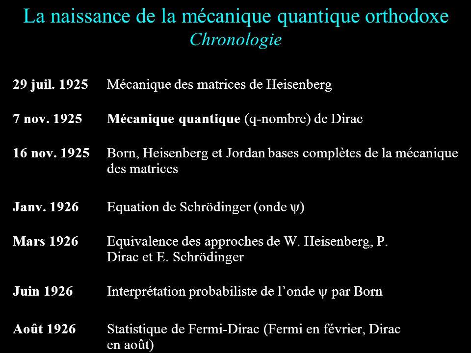 La naissance de la mécanique quantique orthodoxe et ses problèmes dinterprétation Partie I